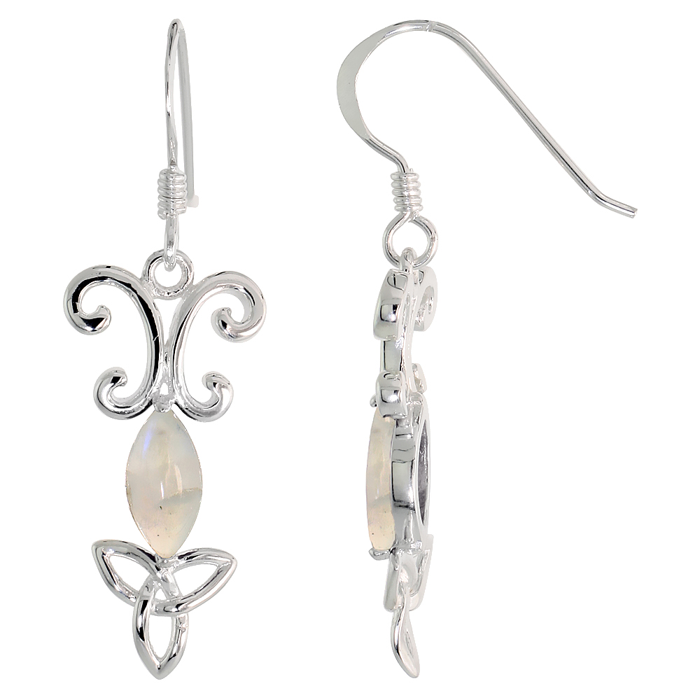 Sterling Silver Genuine Moonstone Triquetra Earrings Celtic Trinity Knot, 1 3/8 inch