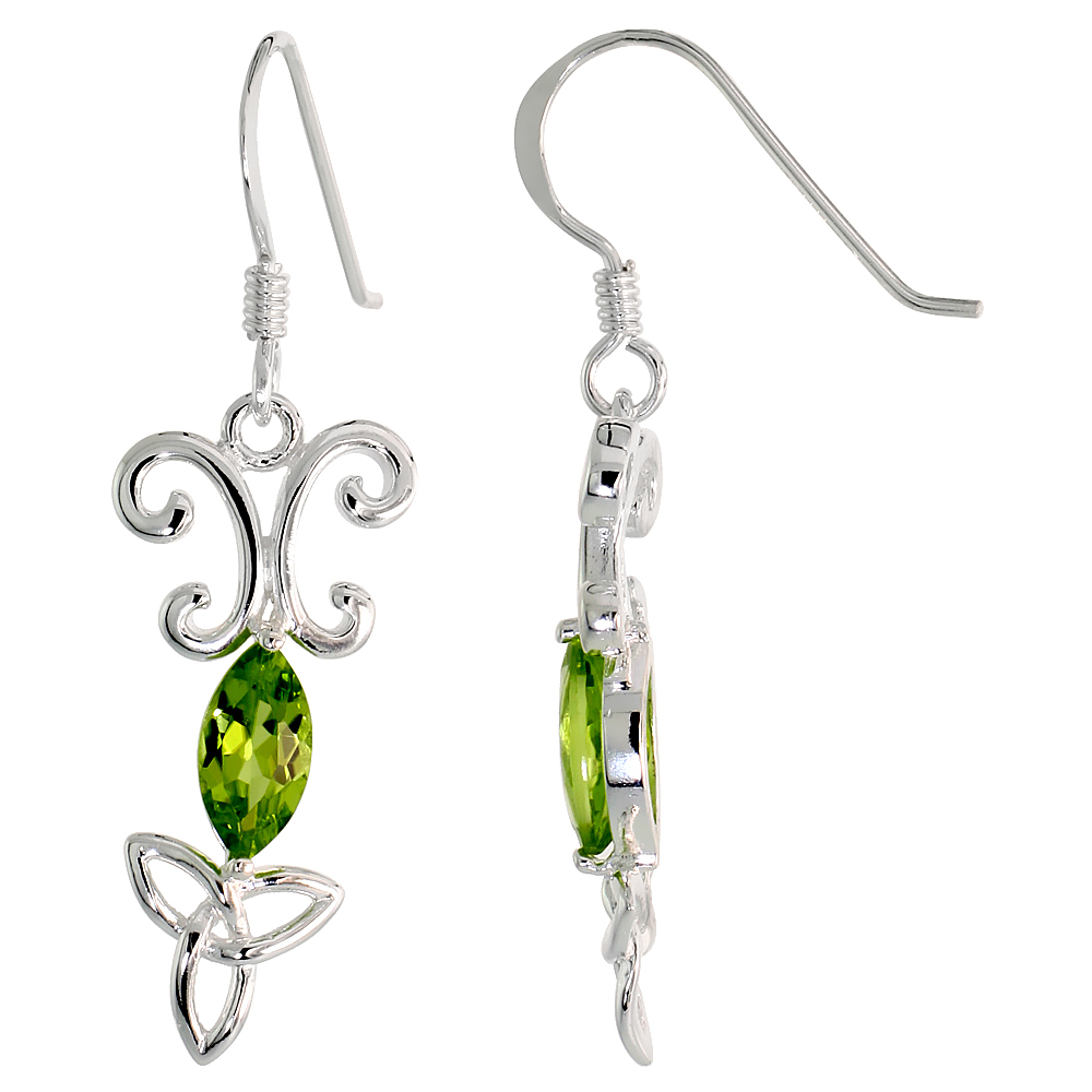 Sterling Silver Genuine Peridot Triquetra Earrings Celtic Trinity Knot, 1 3/8 inch