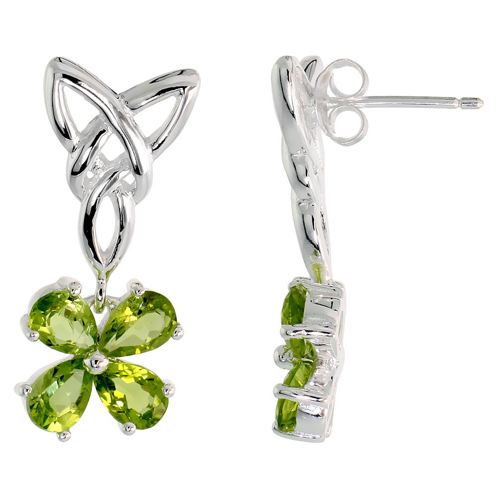 Sterling Silver Genuine Peridot Triquetra Earrings Celtic Trinity Knot 4 Leaf Clover, 1 inch