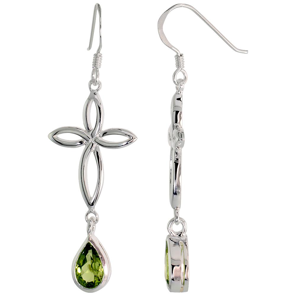 Sterling Silver Genuine Peridot Celtic Cross Knot Earrings Teardrop, 2 inch