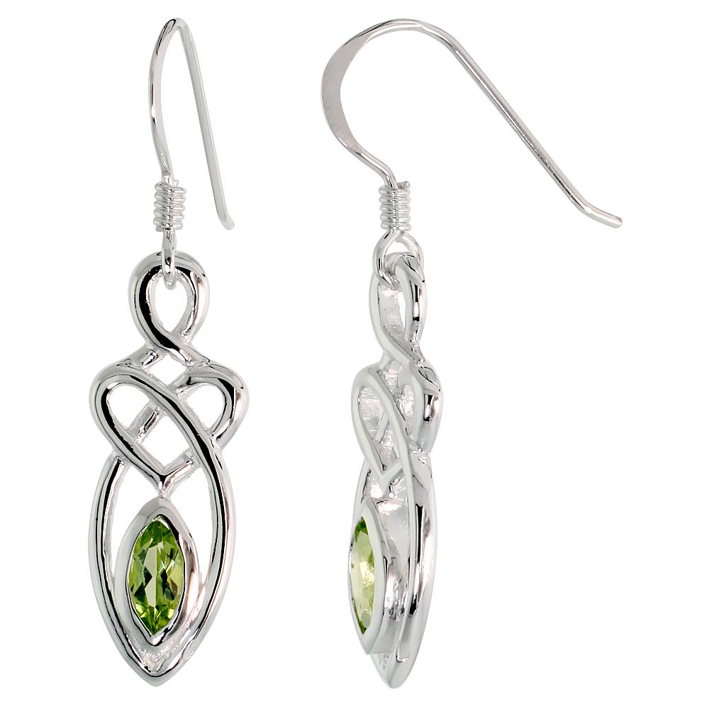 Sterling Silver Genuine Peridot Celtic Motherhood Knot Earrings, 1 1/4 inch