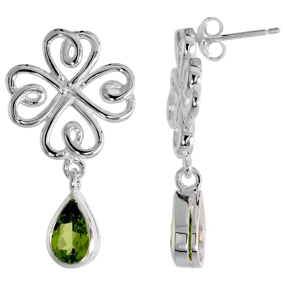 Sterling Silver Genuine Peridot Celtic 4 Leaf Clover Earrings Teardrop, 1 1/4 inch