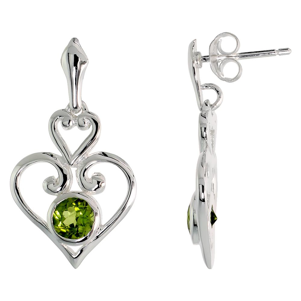 Sterling Silver Genuine Peridot Scroll Heart Earrings, 1 inch