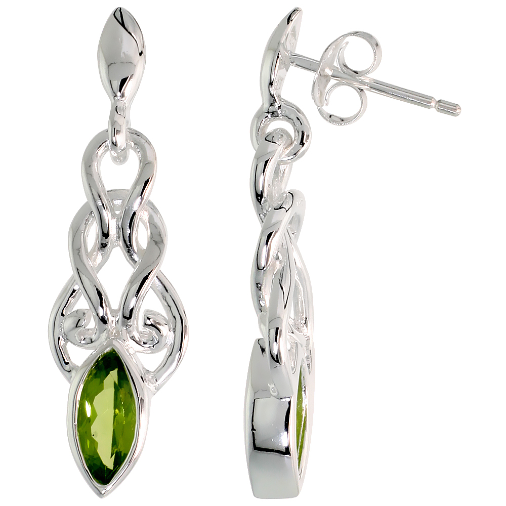 Sterling Silver Genuine Peridot Celtic Knot Earrings, 1 1/4 inch