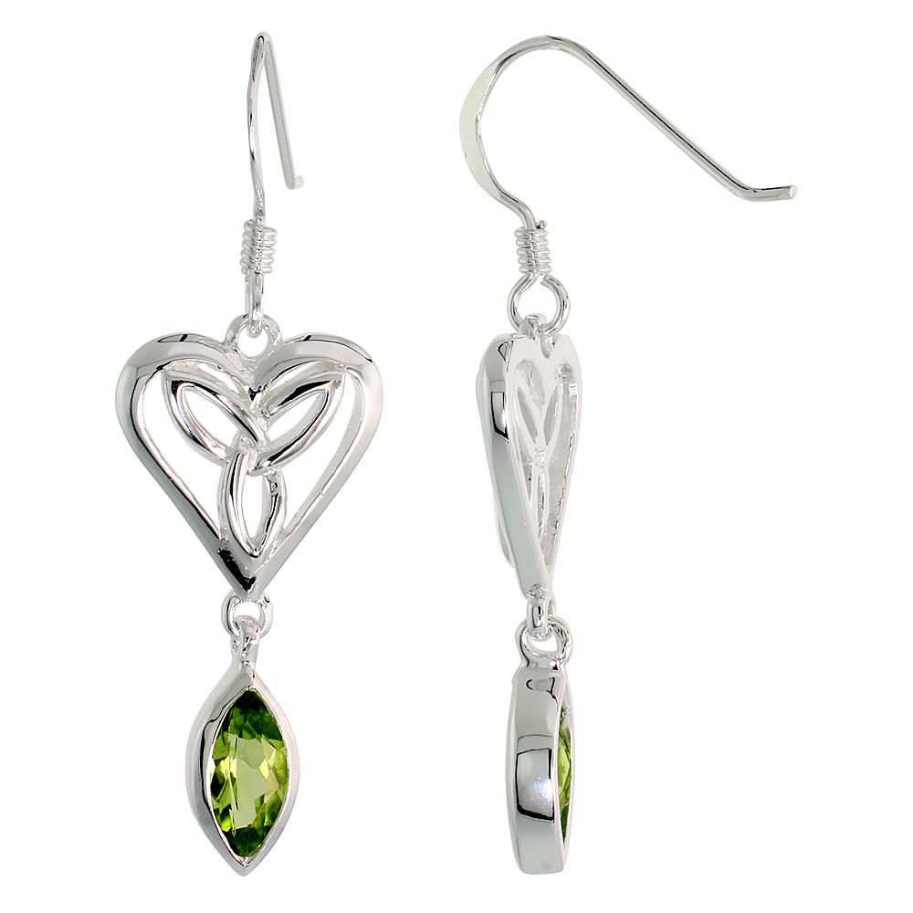 Sterling Silver Genuine Peridot Triquetra Earrings Celtic Heart, 1 1/2 inch
