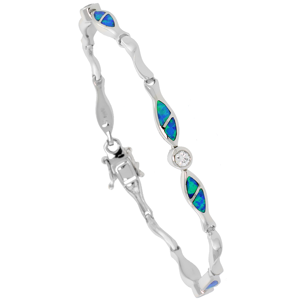 Sterling Silver Synthetic Opal Christian Fish Bracelet with & CZ stone Hand Inlay 7 1/4 inch