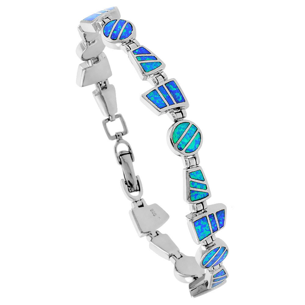 Sterling Silver Synthetic Opal Bracelet Round & Trapezoid links Hand Inlay 7 1/4 inch
