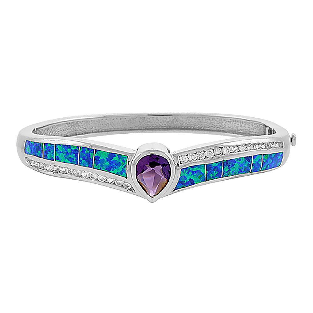 Sterling Silver Synthetic Opal Bangle Bracelet with 10 mm Teardrop Amethyst CZ