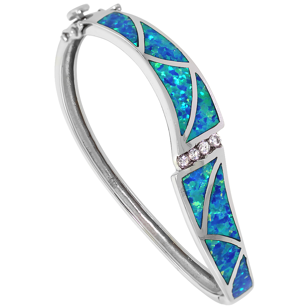Sterling Silver Synthetic Opal Bangle Bracelet CZ stones Hand Inlay 7/16 inch (11 mm) wide