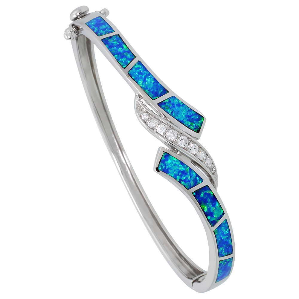 Sterling Silver Synthetic Opal Bangle Bracelet High Quality Cubic Zirconia Stones 9/16 inch wide