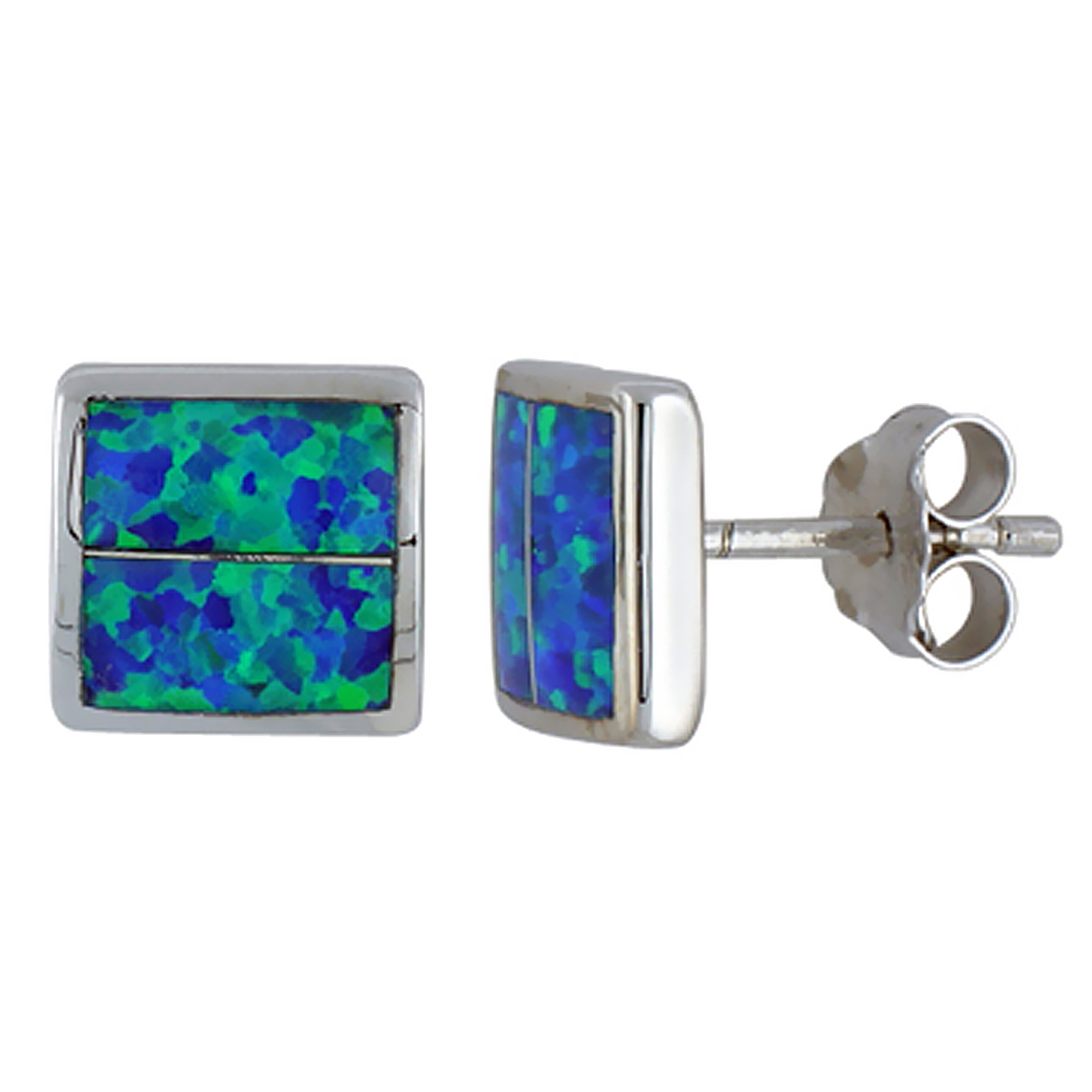 Sterling Silver Synthetic Blue Opal Square Stud Earrings 3/8 inch