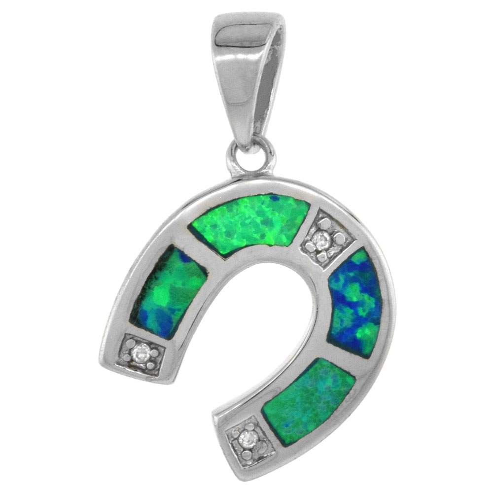 Sterling Silver Synthetic Opal Horseshoe Pendant Hand Inlay Cubic Zirconia Accent 9/16 inch tall