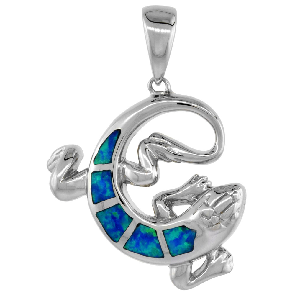 Sterling Silver Synthetic Opal Lizard Pendant for Women Hand Inlay 1 inch
