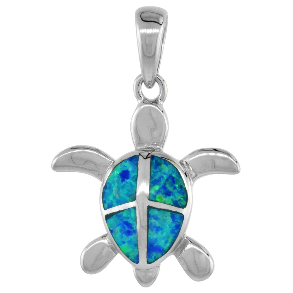 Sterling Silver Synthetic Opal Hawaiian Sea Turtle Pendant for Women Hand Inlay 3/4 inch