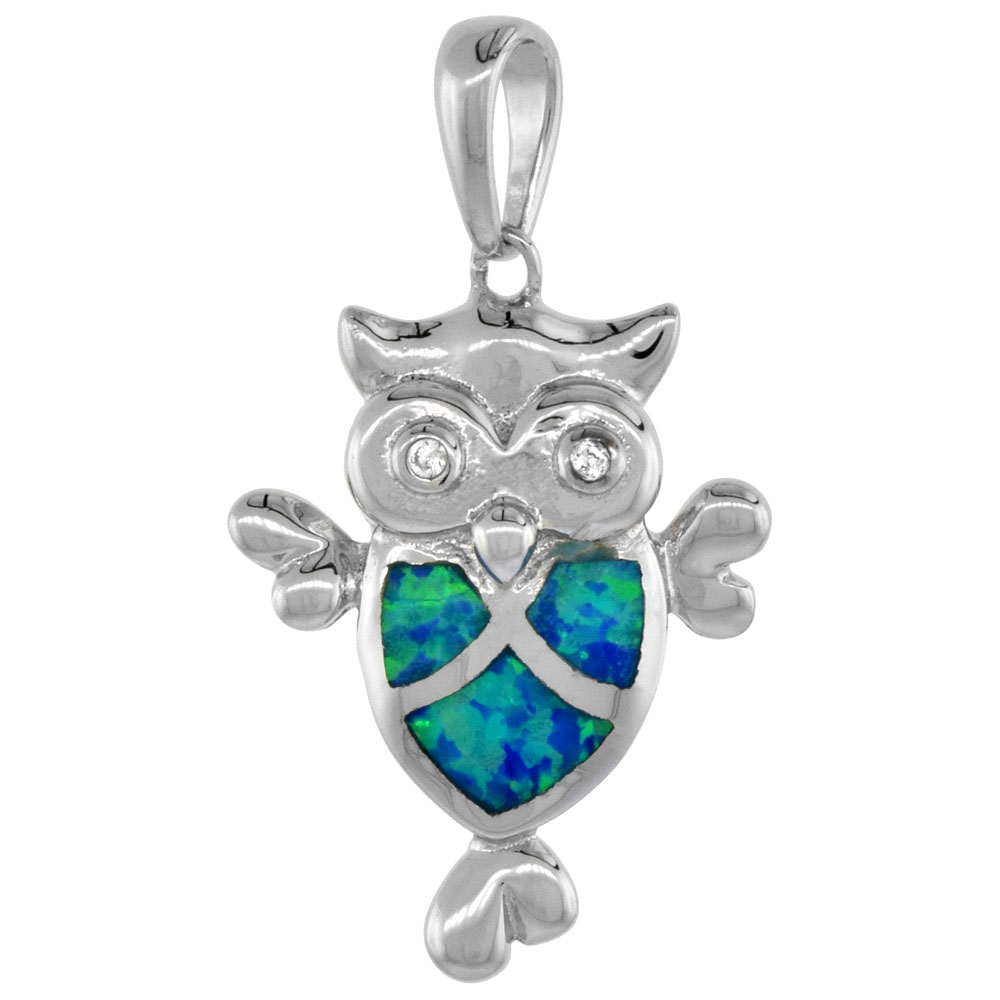 Sterling Silver Synthetic Opal Owl Pendant for Women CZ Accent Hand Inlay 7/8 inch tall
