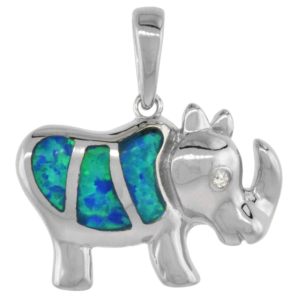 Sterling Silver Synthetic Opal Rhino Pendant for Women CZ Accent Hand Inlay 3/4 inch wide