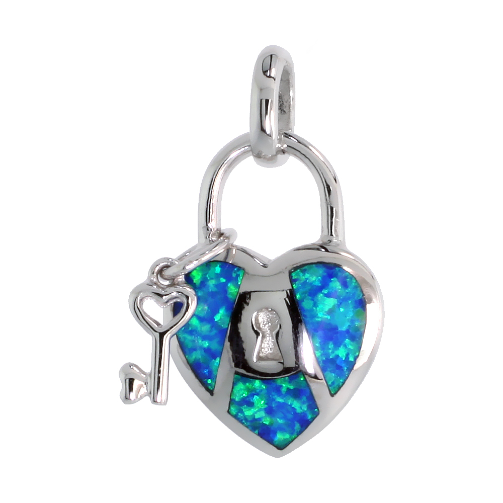 Sterling Silver Synthetic Opal Key to My Heart Pendant for Women Hand Inlay 3/4 inch