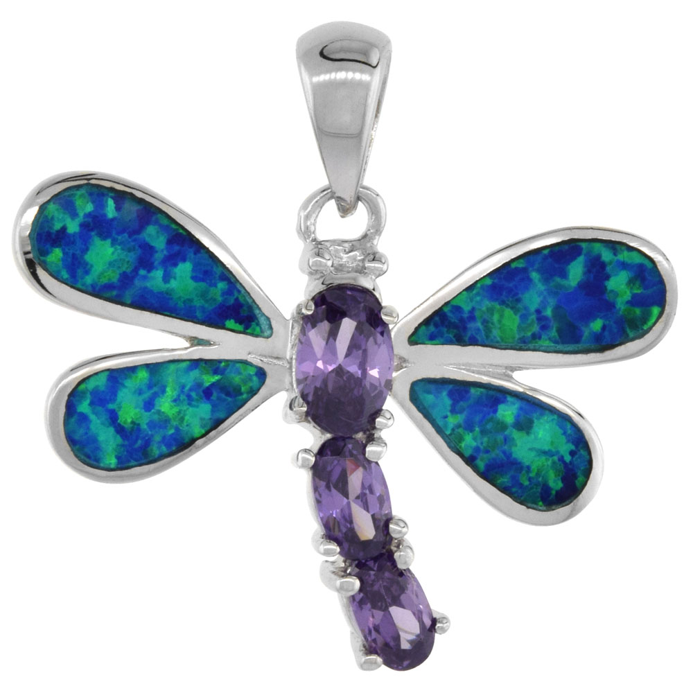 Sterling Silver Synthetic Opal Dragonfly Pendant Hand Inlay Amethyst CZ Cubic Zirconia Accent 1 1/8 inch