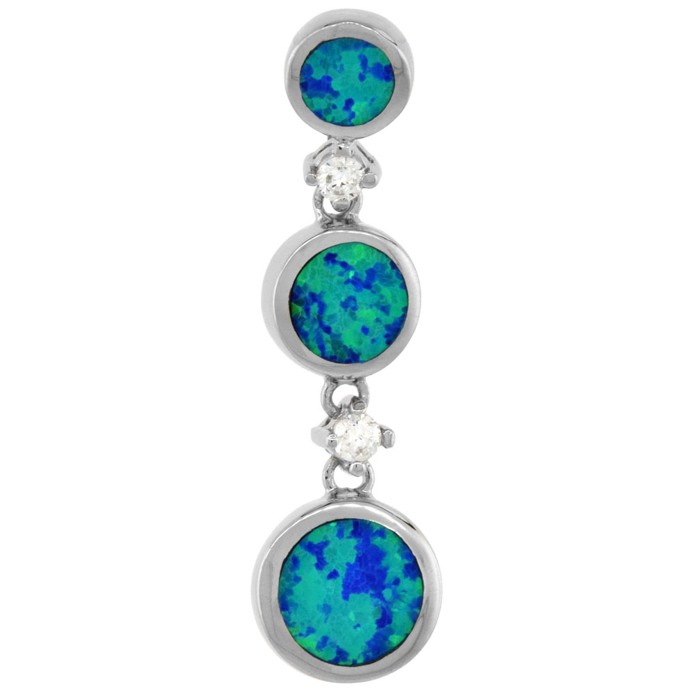 Sterling Silver Synthetic Opal 3 Linked Circles Pendant for Women CZ Accent Hand Inlay 1 1/4 inch tall