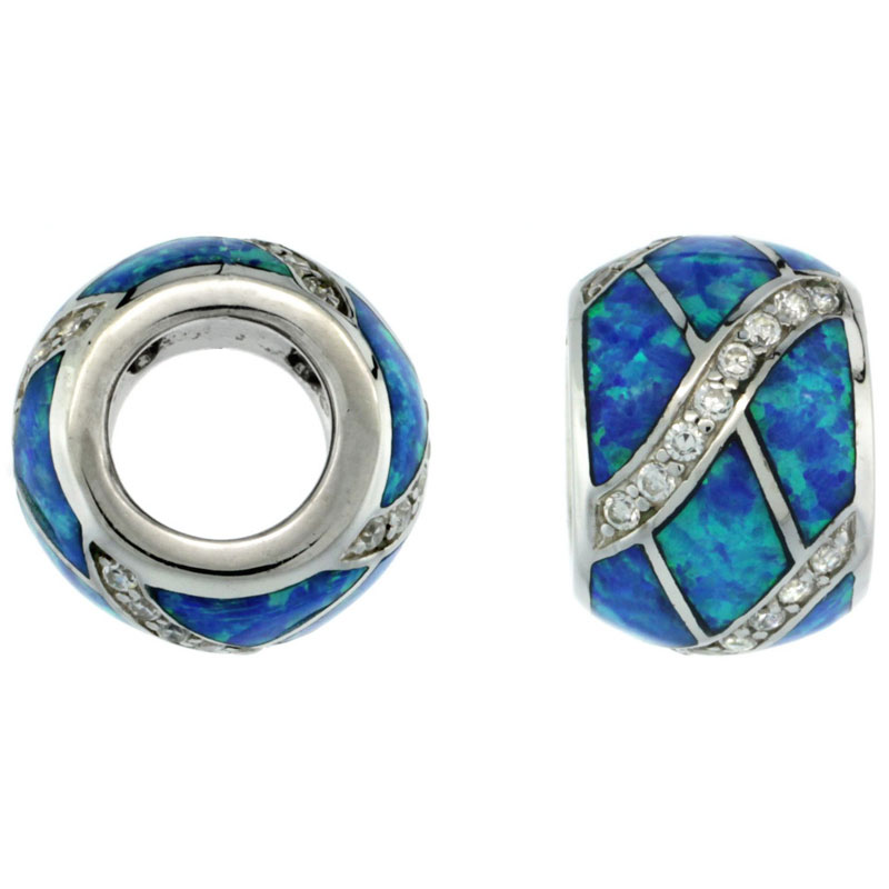 Sterling Silver Blue Synthetic Opal Barrel Bead Charm 7.5mm Hole CZ accent, 3/8 inch