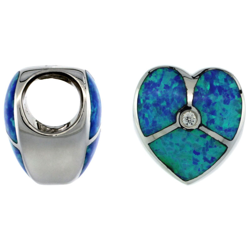 Sterling Silver Blue Synthetic Opal Heart Bead Charm CZ accent 7mm Hole, 1/2 inch Diameter