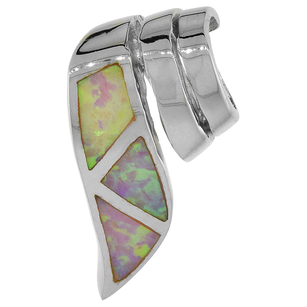 Sterling Silver Synthetic Pink Opal Ribbon Slide Pendant for Women Hand Inlay 3/4 inch