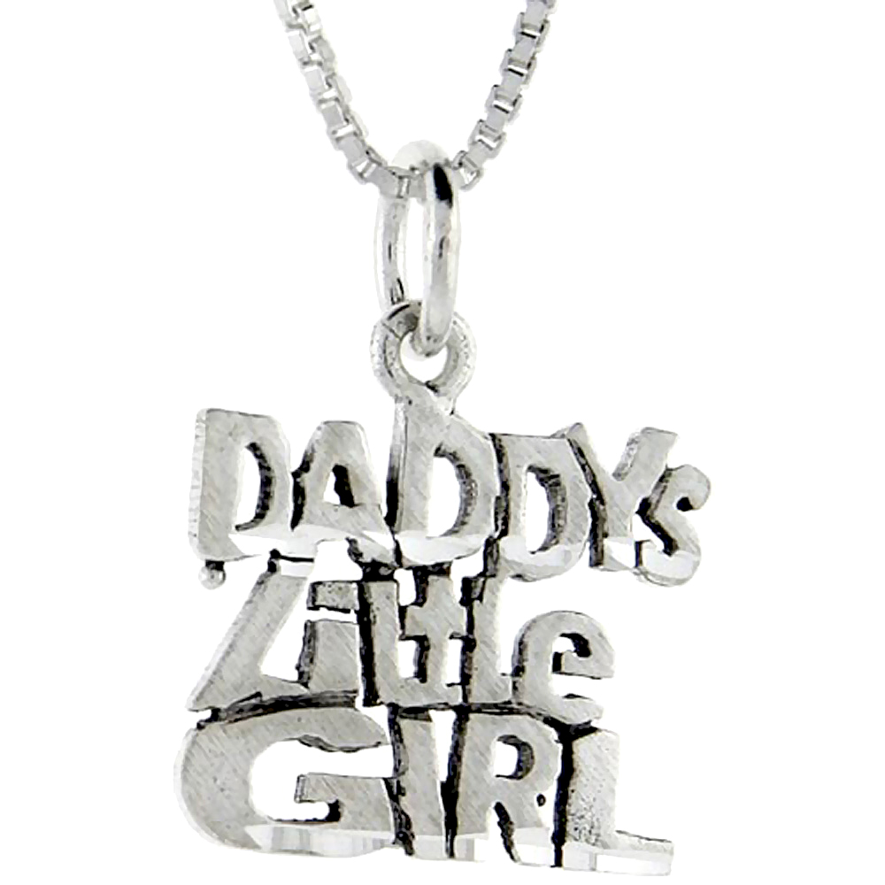 Sterling Silver Daddy's Little Girl Word Pendant, 1 inch wide