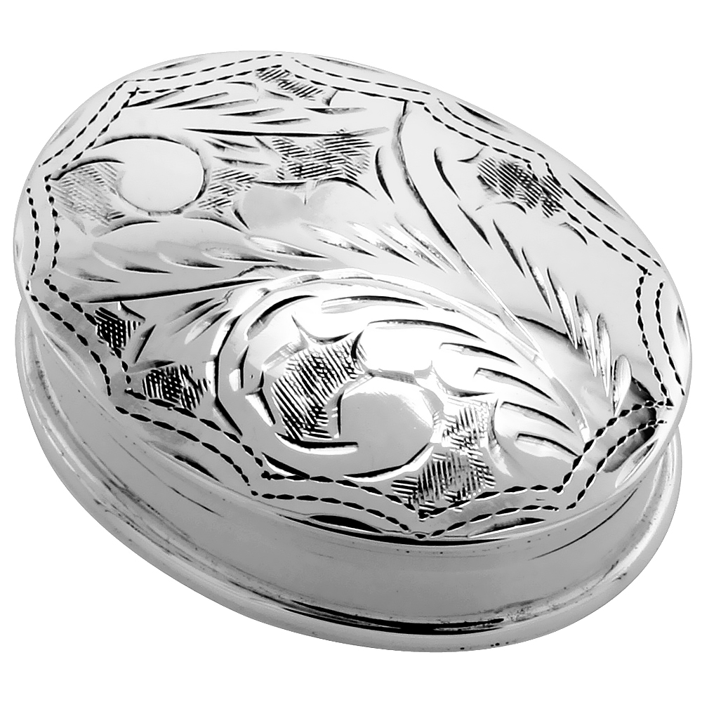 Sterling Silver Pill Box Oval Shape Engraved Finish 1 5/16 x 1 inch