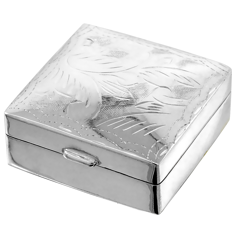 Sterling Silver Pill Box Square Shape Engraved Finish 1 1/8 x 1 1/8 inch