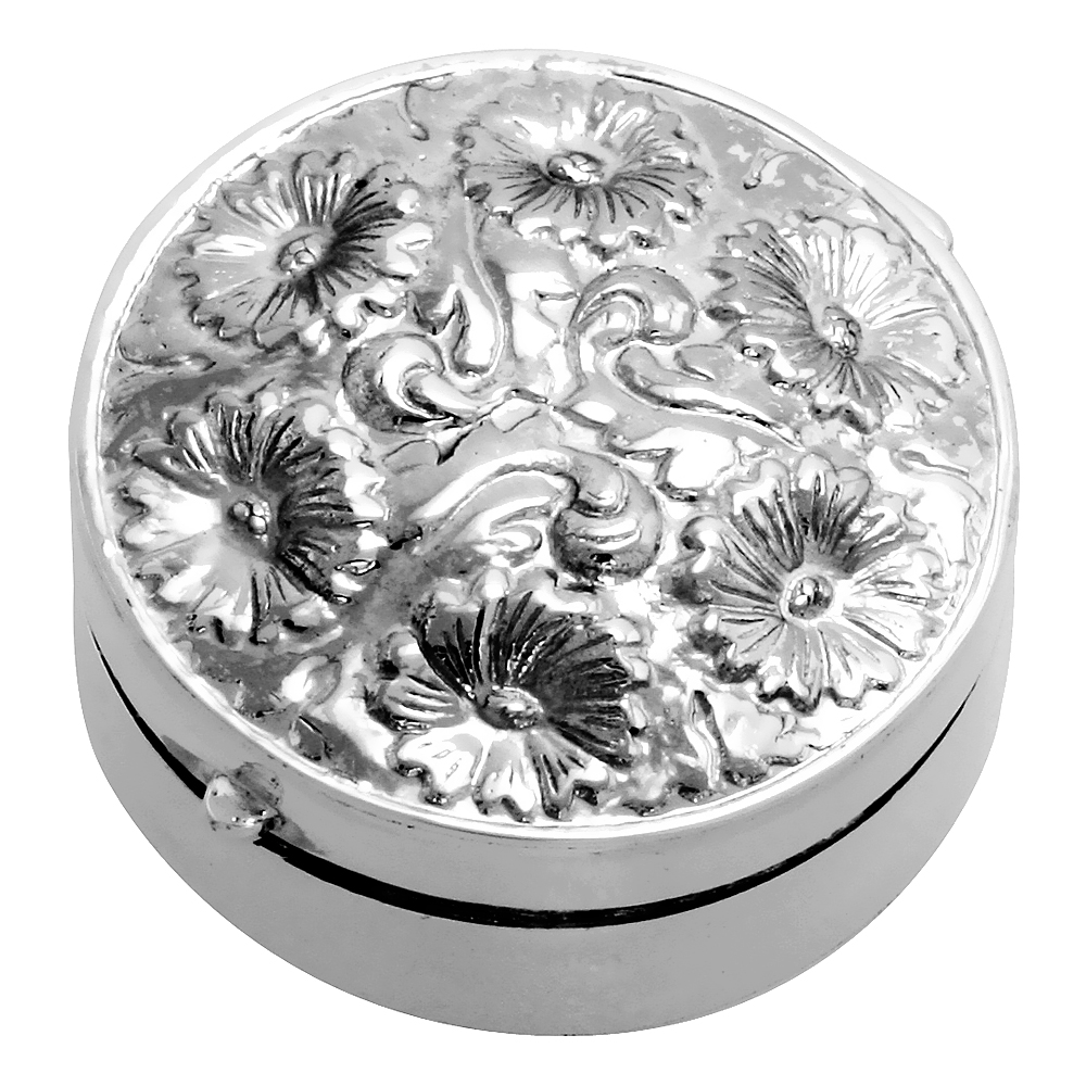 Sterling Silver Pill Box Round Shape Floral Embossed Finish 1 1/4 inch