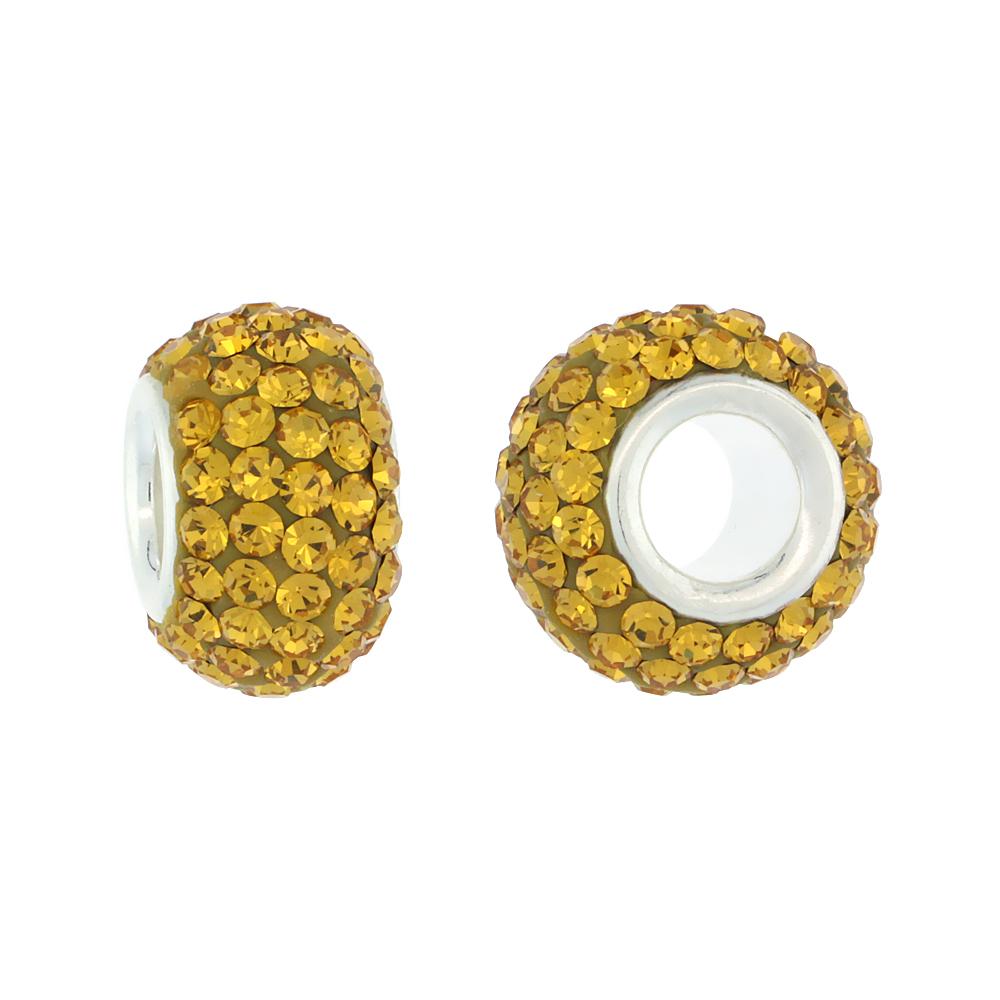 Sterling Silver Crystal Charm Bead Citrine Color Charm Bracelet Compatible, 13 mm
