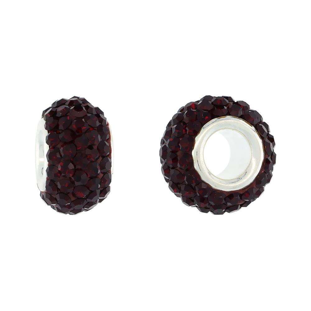Sterling Silver Crystal Charm Bead Purple Velvet Color Charm Bracelet Compatible, 13 mm