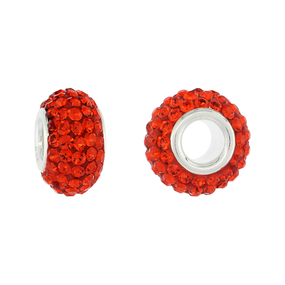 Sterling Silver Crystal Charm Bead Hyacinth Orange Color Charm Bracelet Compatible, 13 mm