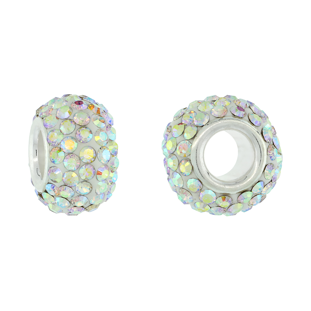 Sterling Silver Crystal Charm Bead White Opal Color Charm Bracelet Compatible, 13 mm