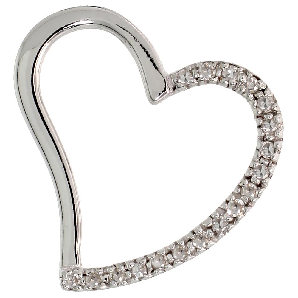 "14k White Gold 3/4"" (19mm) tall Diamond Heart Pendant, w/ 0.15 Carat Brilliant Cut Diamonds"