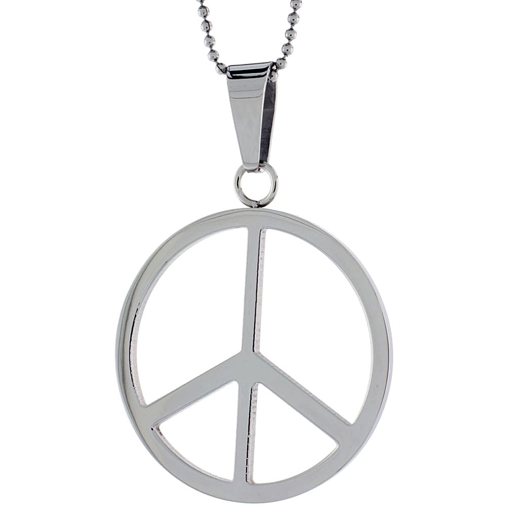 Stainless Steel Large Peace Sign Necklace, 1 5/8 inch tall, w/ 30 inch Chain
