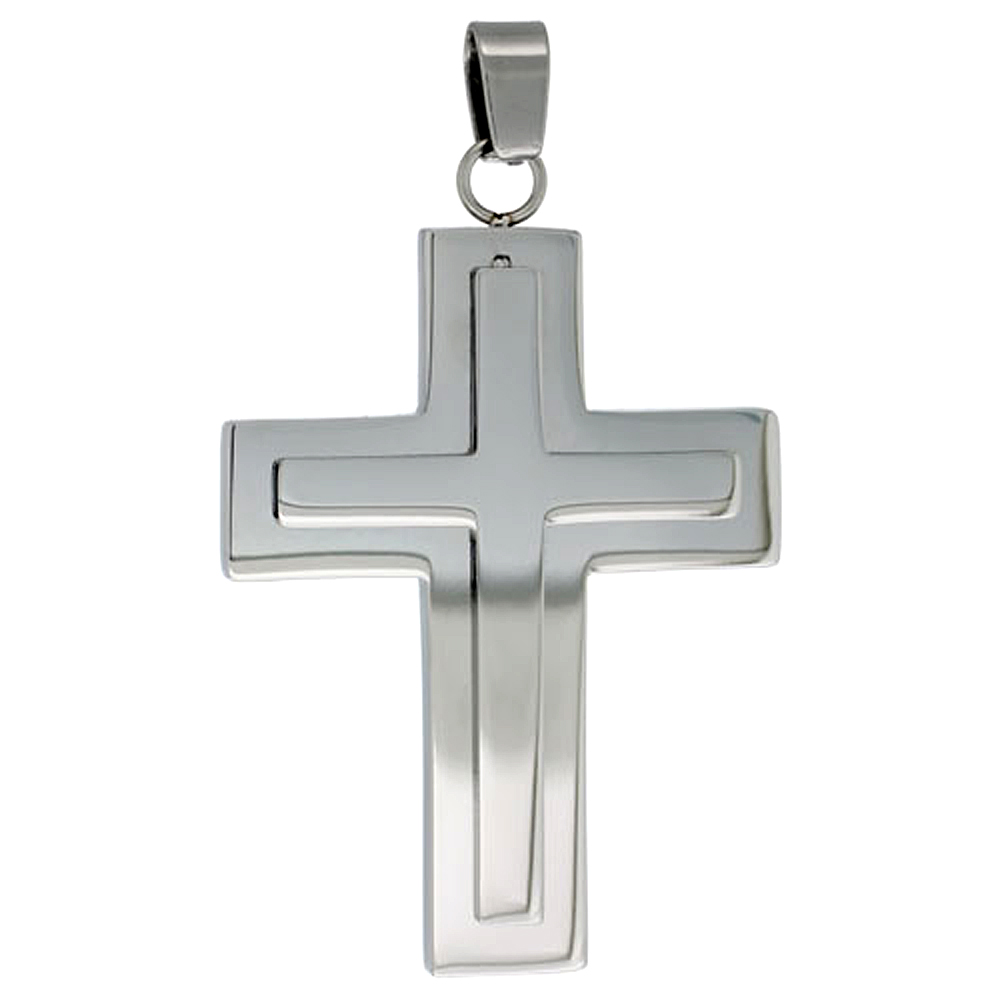 Stainless Steel Latin Cross Necklace, 30 inch chain w/ Frosted Finish Center, 30 inch chain