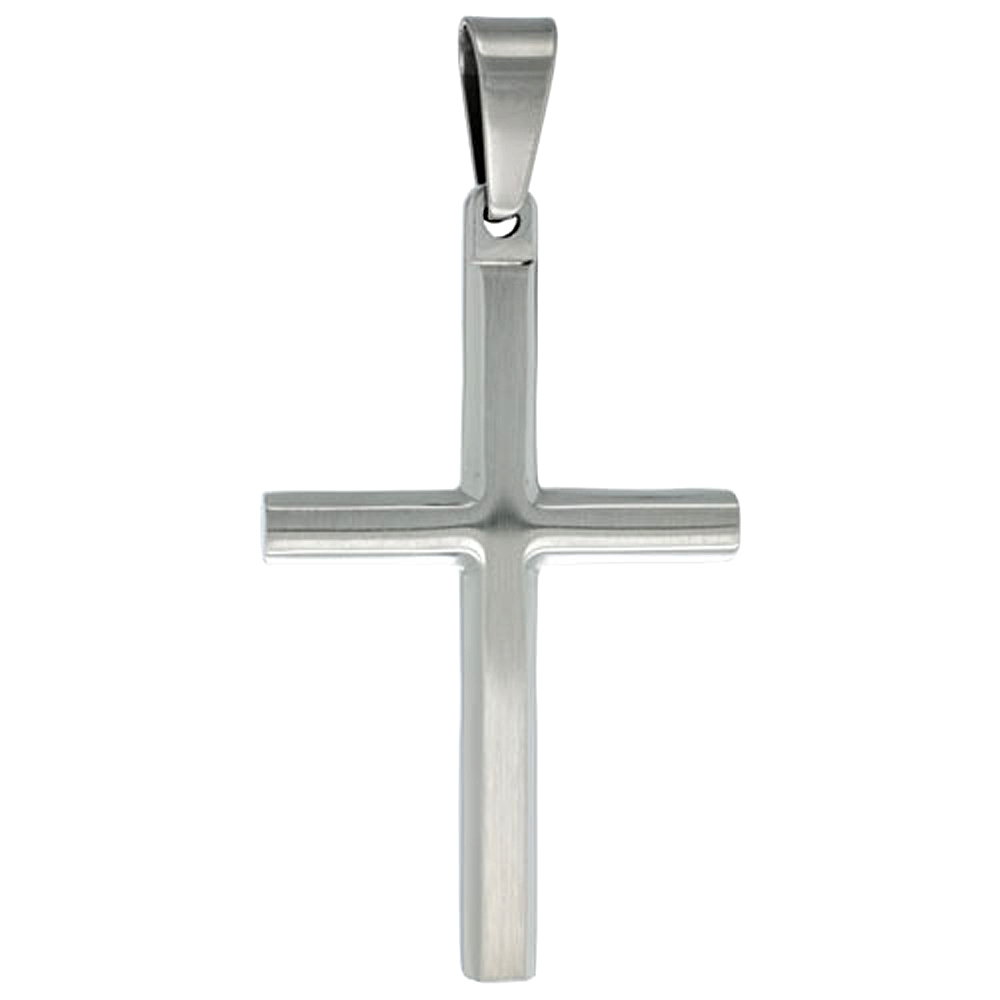 Stainless Steel Plain Cross Necklace, 30 inch chain
