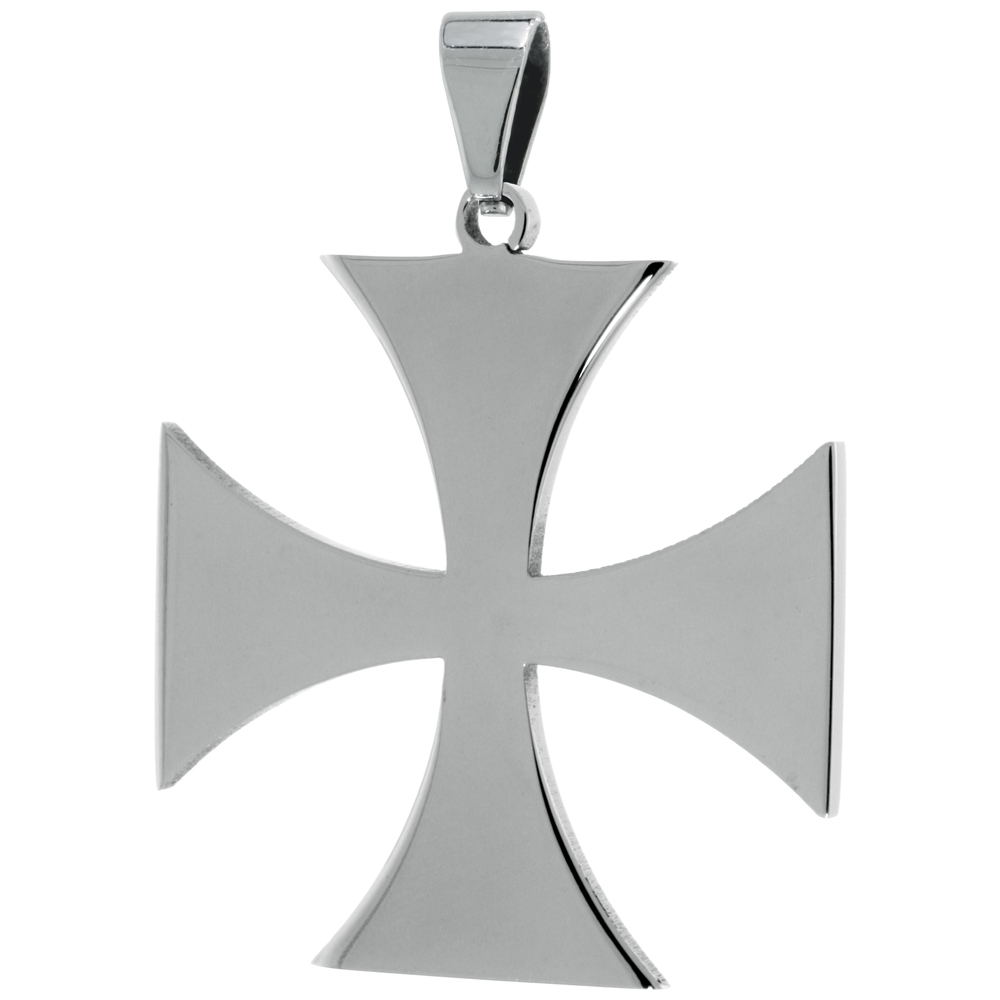 Stainless Steel Maltese Cross Necklace, 1 1/2 inch tall with 30 inch chain