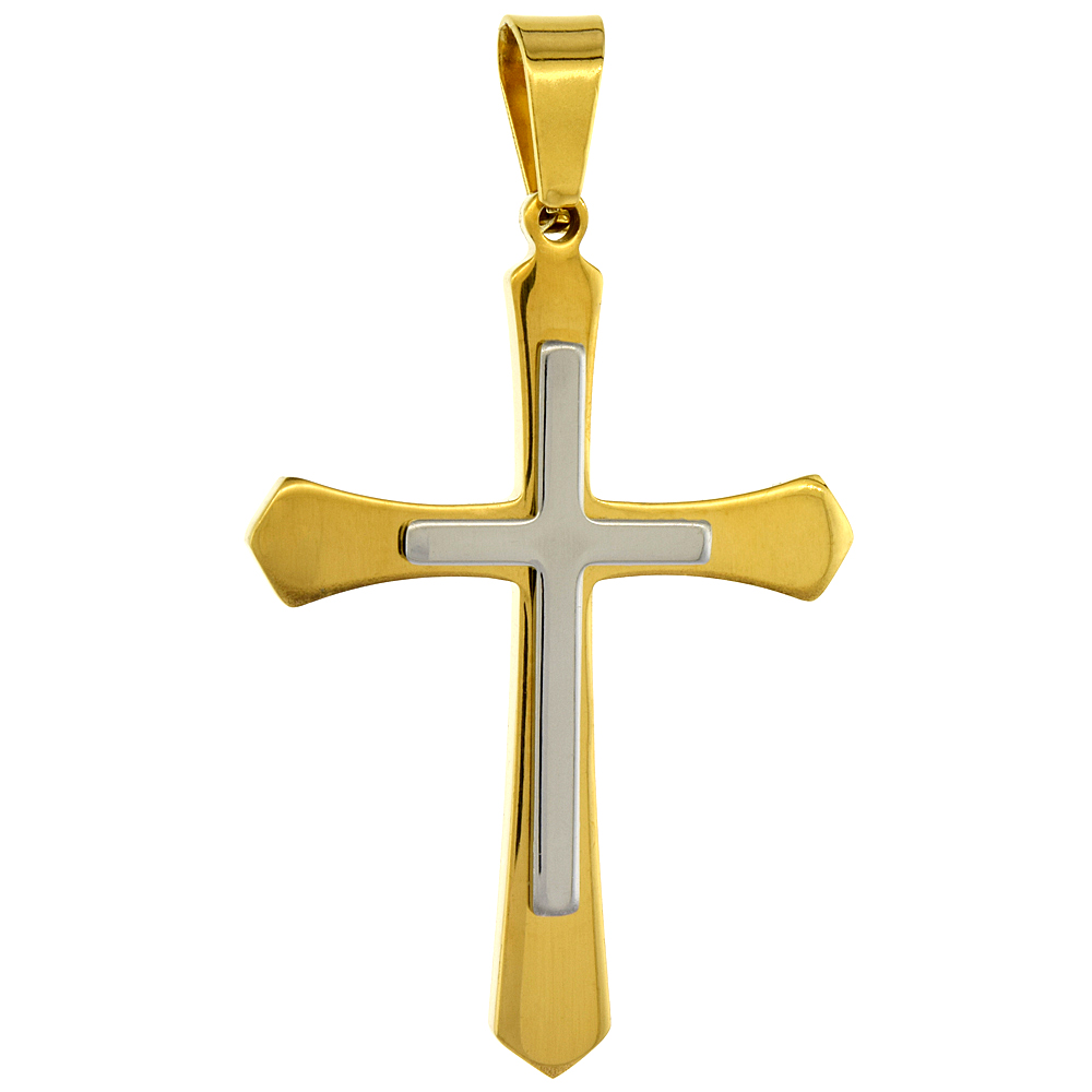 Stainless Steel Pointed Cross Necklace 2-tone Gold Finish, 1 3/4 inch tall with 30 inch chain