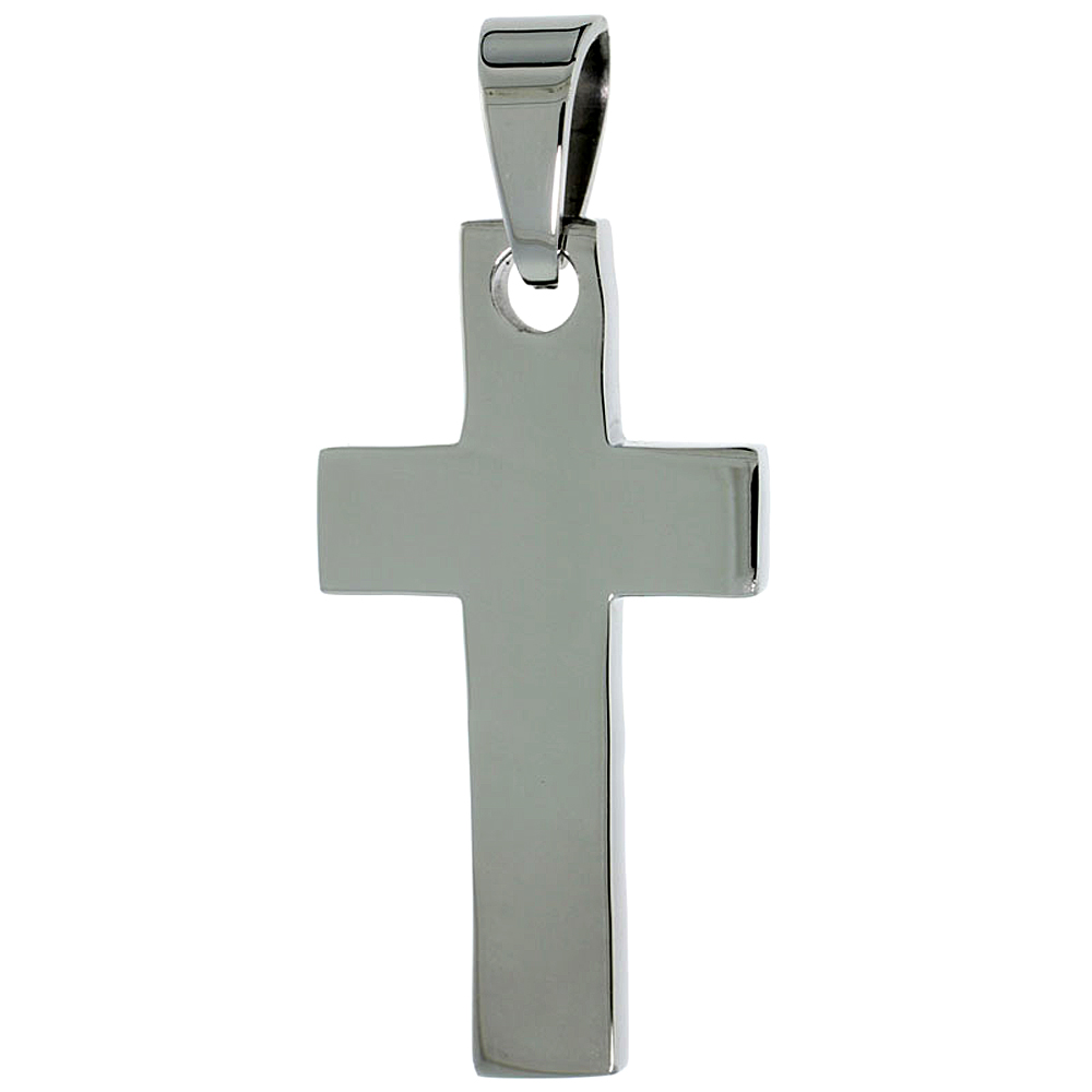 Stainless Steel Plain Latin Cross Necklace, 1 5/8 inch tall with 30 inch chain