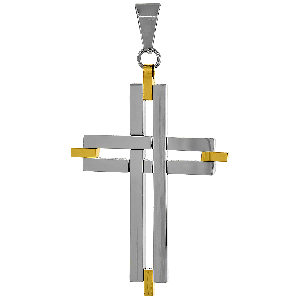 Stainless Steel Cross Necklace 2-tone Gold finish, 2 inch tall, w/ 30 inch Chain