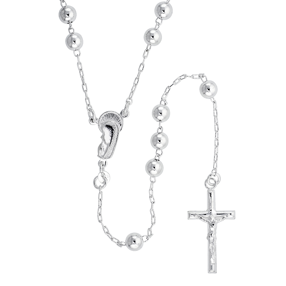 Sterling Silver Rosary Necklace 6 mm Beads, 30 inch