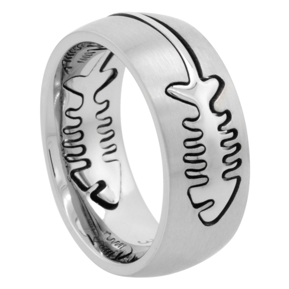 Surgical Stainless Steel Domed 9mm Fish Bone Ring Wedding Band Comfort-Fit, sizes 7 - 14