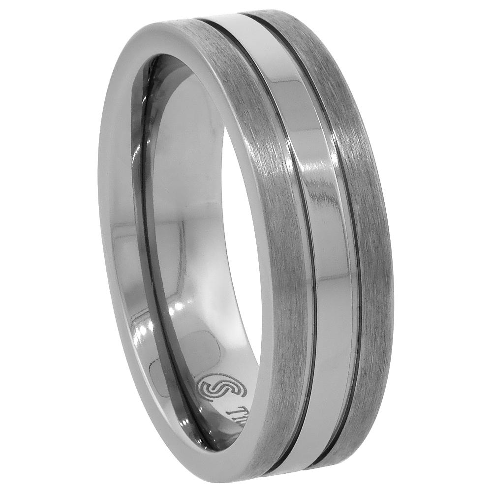 Titanium 5mm Wedding Band Ring Stripe Center Flat Comfort Fit, sizes 7 - 14